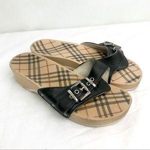 BURBERRY LONDON wooden clog sandals